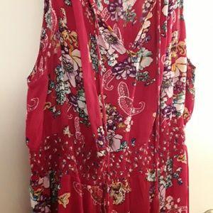 Women's Sleeveless Red Floral Maxi Dress